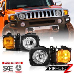 2006-2010 Hummer H3 Pair Left Right Headlights Headlamps Corner Signal Assembly