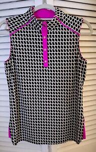 TAIL Women's Golf Top,Sleeveless, Black & White, Hot Pink Size Medium EUC