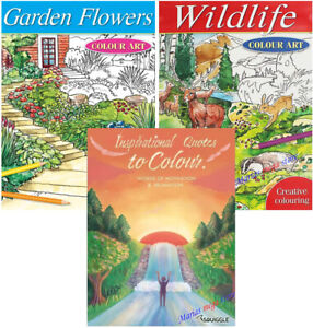 A4 Colouring Books Book Therapy ANTI-STRESS GARDEN - WILDLIFE - QUOTES- ALL AGES