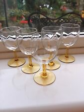 5 art deco sherry / port crystal glasses amber stems Wrythem Bowls