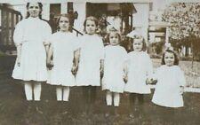 PHOTO POSTCARD VINTAGE / Six little girls in a row /  Ott Family