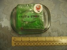 Christmas Soap and Glass Soap Dish Tree & Stars Imprinted Yorkshire Soap