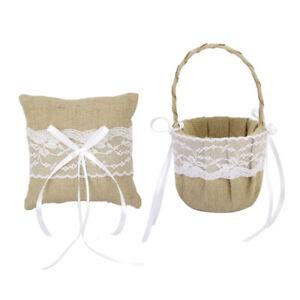 Vintage Shabby Chic Burlap Lace Flower  Basket +   Bearer Pillow With Burlap