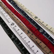 2 metres of Tape Measure Grosgrain Ribbon 10mm wide - 10cm ruler design & icons