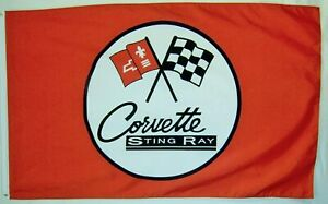 Corvette 3x5FT Flag Sting Ray Car Red Automotive Banner Garage Advertising Dad