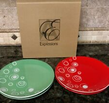 2007 Avon Expressions Holiday Cheer Red Green  Appetizer Plates (4)