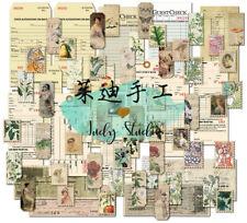 70PCS Junk Journal Ephemera Paper Pack Tag Botanical Ticket Stamp Tags