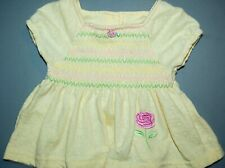 CUDDLE BEAR GIRLS 12M YELLOW TOP CAP SLV PINK ROSE EMBROIDER SMOCKING 100%COTTON