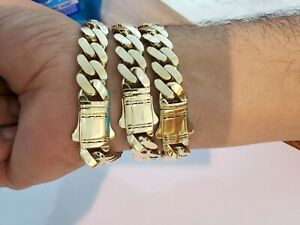 """10k Gold Bracelet 12mm 9"""" Royal Miami Cuban Link Strong, Real 10kt Yellow Gold"""