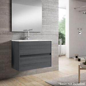 Limoge® Alba 80cm 2 Drawer Basin Unit in Grey Oak