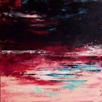 """Art, Peinture Tableau abstrait Paysage original signé HZEN """"VIENT LE SOIR"""" 60x60"""