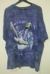 Vintage 2005 Jimi Hendrix Purple Haze Liquid Blue Tie Dye T-Shirt 2XL Rock Band