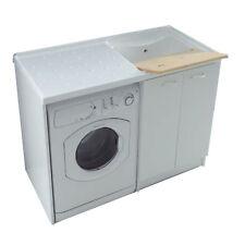 Copri lavatrice mobile per lavanderia arredo bianco completo di lavatoio pilozzo