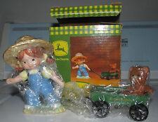 John Deere Porcelain Figurine Little Girl Pulling Teddy In Wagon Enesco 1999 nib