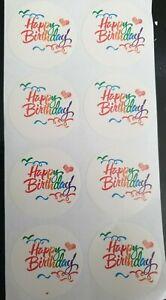 16 x Happy Birthday Peel Off Craft Sticker Labels Gift, Card, Seals, Envelope UK
