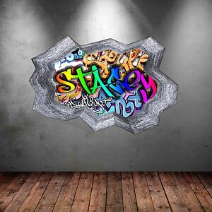 FULL COLOUR PERSONALISED 3D GRAFFITI NAME CRACKED WALL STICKERS DECALS WSD135