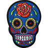 Blue Skull Rose Flower Embroidered Iron / Sew On Patch Clothes Badge Transfer