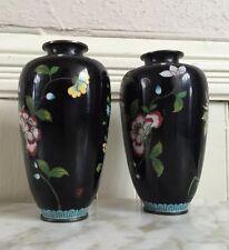 Antique 19c CHINA CHINESE Black Floral Vase Set PAIR CLOISONNE ENAMEL ON BRONZE