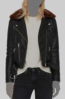 $645 AllSaints Women's Black Rigby Lux Leather Moto Biker Jacket Coat Size US 10