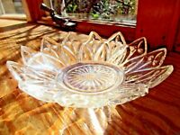 VINTAGE CLEAR CUT GLASS POINTED JAGGED ZIG ZAG CANDY NUT TRINKET DISH ASHTRAY