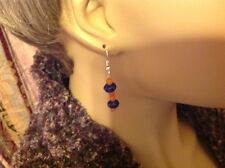Sterling Silver .925 Fish Hook Earrings W/Blue Sapphire &Genuine Natural Stones