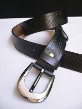"""Men Black Faux Leather Classic Fashion Suit Pants Belt Size Medium Large 35""""-39"""""""