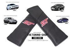 "2x Seat Belt Covers Pads Black Leather ""ST"" Edition For Ford Mondeo"