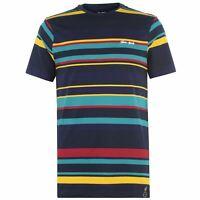 Gio Goi Mens Striped T-Shirt Crew Neck Tee Top Short Sleeve Cotton Stripe