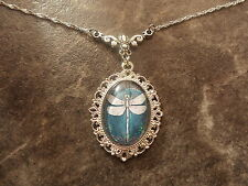 "TEAL DRAGONFLY NECKLACE 18"" GLASS CAMEO"