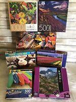 Mixed Lot 7 Puzzles 500-1000 Pieces Big Ben Flowers Crayola Cupcakes Landscape