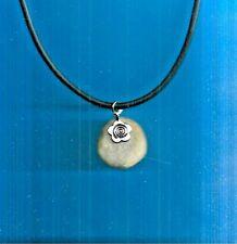 """Scottish flower motif QUARTZ STONE 18-20"""" adjustable rubber pendant necklace"""