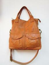 FOSSIL Tan Leather Modern Cargo Convertible Tote Bag Fold Over Shopper Purse