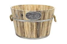 Rustic Round Wooden Planter Barrel Basket Garden Flower Plant Pot Bucket