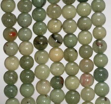 8MM GREEN JADE GEMSTONE ROUND LOOSE BEADS 15""
