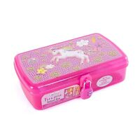 Pencil Box – Unicorn Girls Pencil Case Box w/ Lock, Pencils, Notepad & Stickers