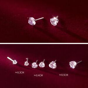 Kleine Ohrstecker Herz echt Sterling Silber 925 3-5 mm Zirkonia Damen Ohrringe