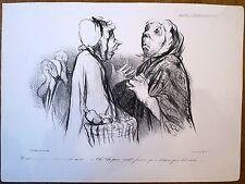 Lithographie de Daumier,Croquis d'expression n°35, chat