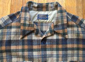VTG 60s Pendleton Loop Collar Board Shirt, Plaid Grays/Blues/Browns, XL Tall