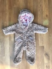 Ted Baker Baby Girls used Furry Snowsuit 6-9 Months Dusty Pink