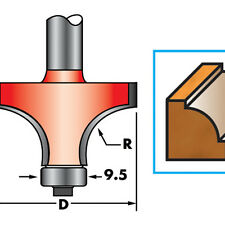 "1/4"" Shank Round Over/Ovolo Cutter Router Bits 1"" x 7/16"" x R1/4"" B3/8"", 1/2"""