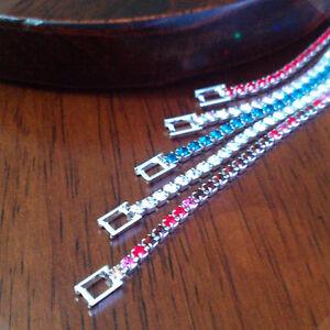 4X Crystal Diamante Silver Single Row Bridal Bracelet Hand Chain Clearance Offer