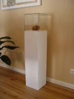 Holzsäule aus MDF 20x20x90cm weiß mit Glaskuppel, MDF-Säule, Holzstele, Vitrine