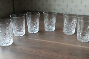"6 Edinburgh Crystal ""Star of Edinburgh"" Tapered Tumblers Signed 10.5cm tall"