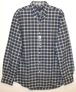 Polo Ralph Lauren Mens Size L Green Blue Plaid Button-Front Shirt NWT Size L