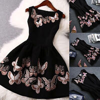 Women's Summer Sleeveless Round Neck Butterfly Big Swing Mini Dress Exquisite