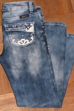 Seven7 Girl's 8 Bling Distressed Faded Leather Embellished Jeans