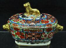 Antique Staffordshire Gold Lion Polychrome Imari Sauce Tureen c 1810