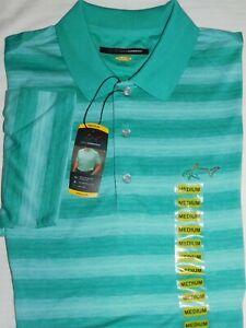 GREG NORMAN Playdry Polo Shirt Golf Moisture Wick UPF Protection Green Stripe