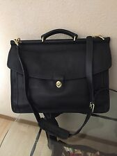 COACH BLACK LEATHER LUGGAGE TOTE LAPTOP HOLDER MESSENGER BAG #0441 326 EUC