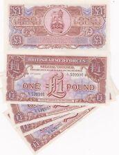 6 consecutivas £ 1 3RD Serie Militar Fuerzas Armadas Billetes En Perfecto Estado